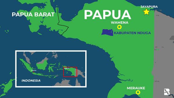 Peta posisi Kabupaten Nduga. (BeritaBenar)