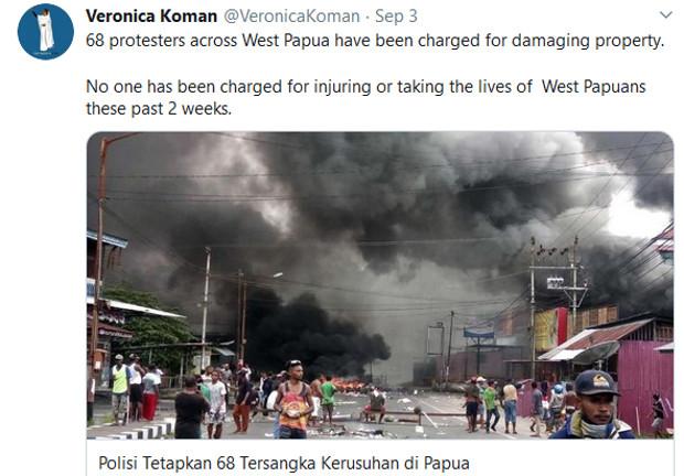 Salah satu cuitan Veronica Koman mengenai Papua dalam twitternya pada 3 September 2019. [@VeronicaKoman]