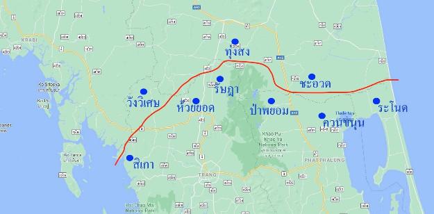โครงการขุดคลองไทย 9A กำหนดระยะทาง 135 กิโลเมตร เริ่มจากฝั่งอันดามัน ทิศตะวันตก และตัดออกทะเลอ่าวไทย ทิศตะวันออก โดยผ่านห้าจังหวัด จาก กระบี่ ตรัง นครศรีธรรมราช พัทลุง และสงขลา - แหล่งข้อมูล สมาคมคลองไทยเพื่อการศึกษาและพัฒนา และคณะอนุกรรมาธิการพิจารณาศึกษาการขุดคลองไทย (แผนที่ : เบนาร์นิวส์)